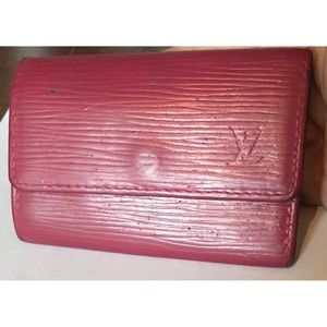 Louis Vuitton Key Holder Blue Epi Painted Pink